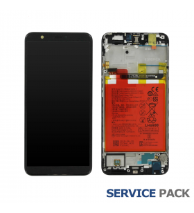 Pantalla Huawei P Smart NEGRA CON MARCO LCD FIG-LX1 02351SVJ SERVICE PACK